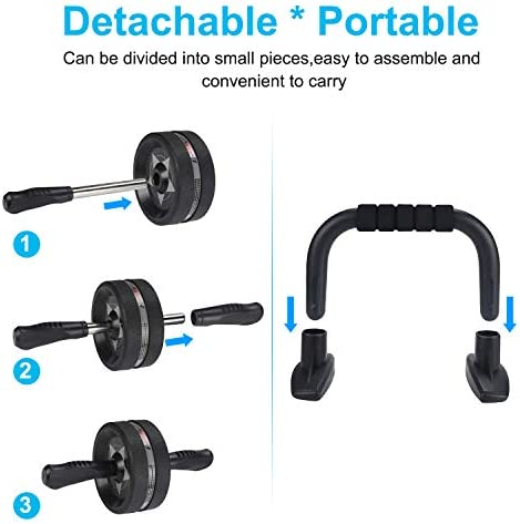 EnterSports Ab Roller Wheel, 6-in-1 Ab Roller Kit with Knee Pad, Resistance Bands, Pad Push Up Bars Handles Grips, Perfect Home Gym Equipment for Men Women Abdominal Exercise 6