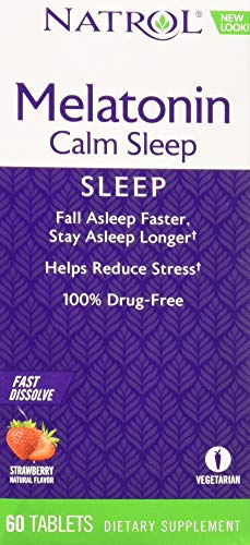 Natrol Advanced Melatonin Calm Sleep, Fast Dissolve Tablets, Strawberry flavor, 60 Count(Packaging May Vary)