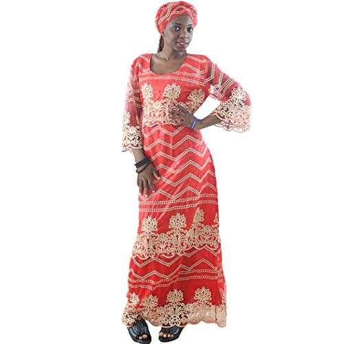H D African Bazin Riche Dress, Dashikis Ankara Embroidery Pattern Boubou France Net Lace Maxi Dress with HeadScarf for Women,Red L by H D