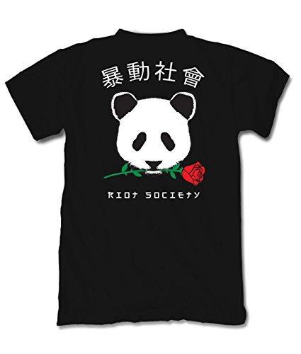 Riot Society Panda Rose Graphic Short Sleeve T-Shirt - Black, 2X-Large