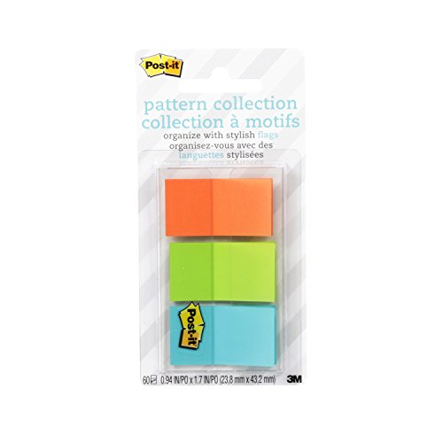 Post-it Full Color Flags, Geos Pattern Collection.94 x 1.7 Inches, 60/On-The-Go Dispenser, 1 Dispenser/Pack (680-GEOS)