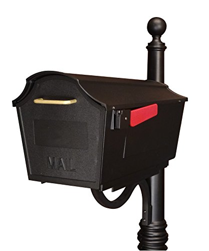 Wall Blk Mailbox (Special Lite Products STB-1007-BLK Towne Square Curbside Mailbox, Black)