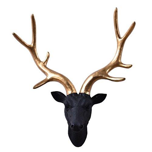 Elegant Resin Deer Head Wall Hanging Antler Decor Crafts Stag Wall Hook Hanger Figurine Sculpture -