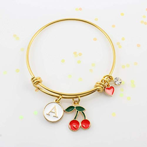Personalized Little Girls Gold Red Cherry Bracelet • Red Cherries Bangle Bracelet with Initial • *Fits Girls 5-10 Years Old • Gold Adjustable Charm Bangle • Birthday Gift • Top Quality!
