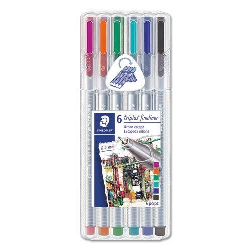 - STAEDTLER Triplus Fine, BLK/BL/CYN/GRN/MGT/ORN Ink, 6 Pens (STD334SB6S2A6)