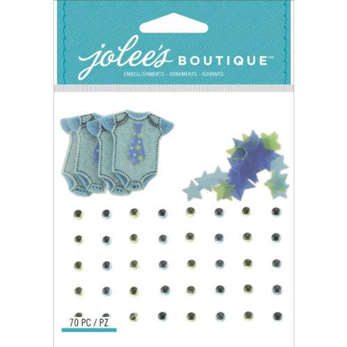 Jolee S Boutique Embellishments (Jolee's Boutique Dimensional Embellishments, Baby Boy Confetti and Gem)