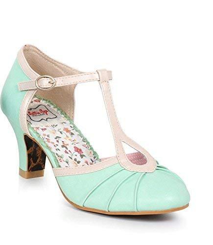 Ellie Shoes 2.5 inch T Strap Metallic Detail Heel (Mint;7) ()