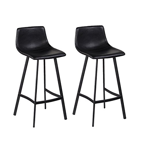 Furniture HotSpot Black Bar Stools - Set of 2 - Bar Stool Gray Bucket Seat