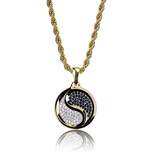 AOVR Hip Hop Cuban Link Chain 14k Gold Silver Plated CZ Crystal Fully Iced-Out Plug Pendant