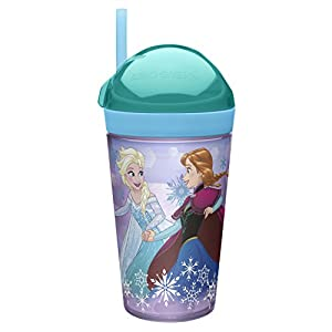 Zak! Designs Zak! Snak Snack & Drink Container Featuring Anna & Elsa, 4 oz. Snack and 10 oz. Drink in One Easy To Open Container, BPA-free and Break-resistant Plastic