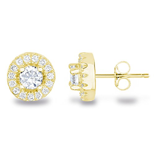 14k Yellow Gold Plated Sterling Silver Cubic Zirconia Halo Stud Earrings, Center Stone 4mm -
