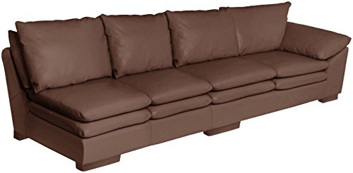 Omnia Leather Fargo Right Arm 4 Cushion Sofa in Leather, Standard No Nail Head, Softstations Java