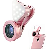 Aipinvip 3 in 1 Camera Lens with Fill Light,Clip-on Lens Kit with Selfie Ring Light, 140°Wide Angle, 15X Macro Lens Clip-on Cell Phone Camera Lenses Kit for iPhone iPad Android Smartphones (Pink)