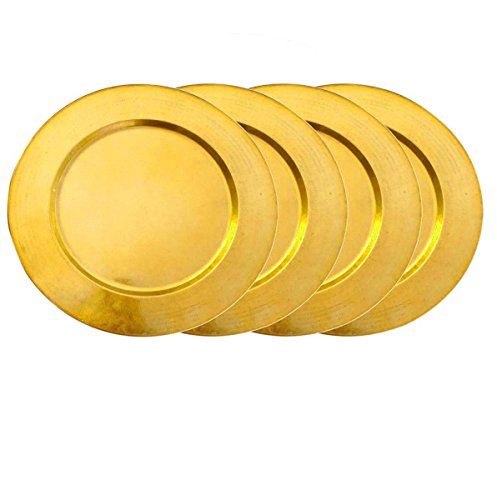 "AsiaCraft Metal Brass Finish 14"" Charger Plate for Wedding, Parties and Holidays, Set of 4"