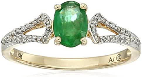 14k Gold Oval Gemstone Ring with Diamond Accents (1/10cttw, I-J Color, I2-I3 Clarity), Size 7