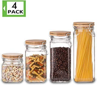 Food Storage Containers Set, Kitchen Storage Jars, Elegant Life Clear Glass Airtight Canister Set with Airtight Clamp Caps(4 Packs,5.5L) - Glass Canister Storage