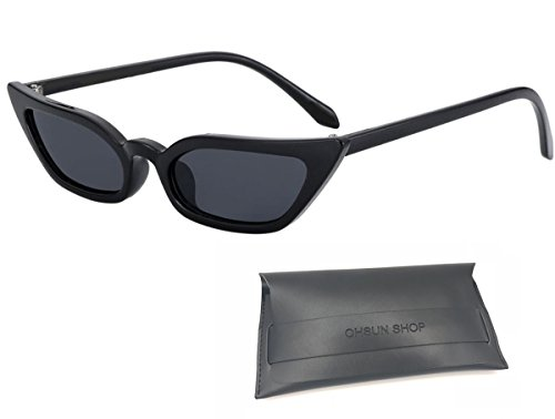 Women's Street Style Cat Eye Sexy Sunglasses in Candy Color Frame with UV Protection, packed in a Leather Purse (Black)