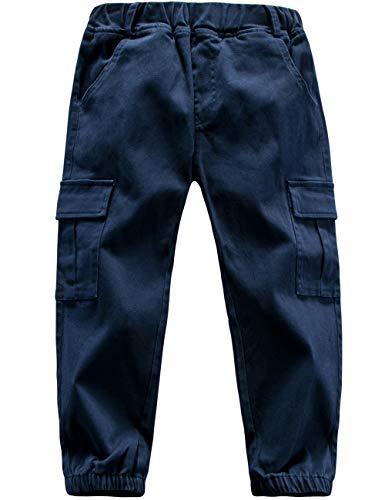 BYCR Boys' Cotton Cargo Pants Elastic Waist Slim Fit Multi Pocket Chino Joggers (Navy, 160 (US Size 12))