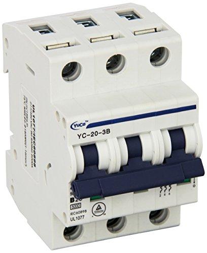 Breaker 480v 20 Amp - Yc-20-3B Yuco Supplemental Protector Din Rail Miniature Circuit Breaker 3P 20A B Curve 277/480V 50/60Hz Tuv Ul 1077 European Design Csa C22.2
