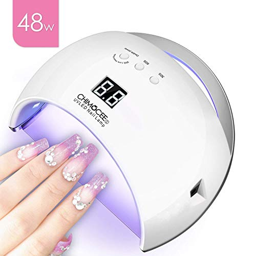 48W UV Led Nail Dryer, CHIMOCEE Smart Curing Lamp, Auto Sensor Nail Gel Polish Dryer With 3 Timer Setting, Professional For All Brand Type (White)