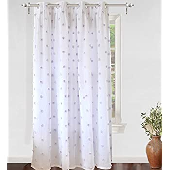 DriftAway Ellie White Pinch Pleated Voile Sheer Blackout Curtain Liner Embroidered With Pom