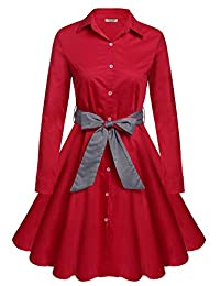 ACEVOG Women's 1950s Long Sleeve Swing Vintage Party Dresses With Belt
