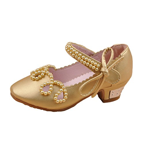 HBOS Kinder Maedchen Prinzessin Schuhe Beaded Bow Bow Bow Performance Schuhe Tanzschuhe Gold 57af36