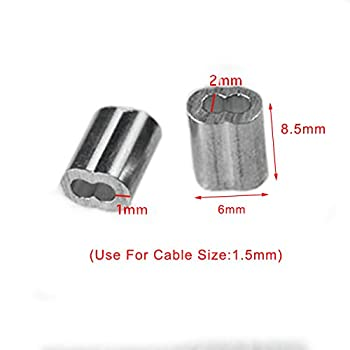 """50pcs 1/16""""Aluminum Cable Crimps Sleeves Cable Ferrule Clip Fittings for Crimping Wire Rope Cable FLQ049-1.5"""