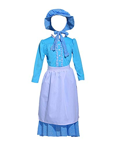 Girls Colonial Pioneer Cosplay Prairie Dress for Halloween Costume Dress Up Party (Girls 8-10, Blue -