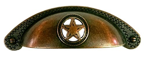 Set of 6 Bin Cup Star with Rope Drawer Cabinet Handle Western Southwest Texas ()