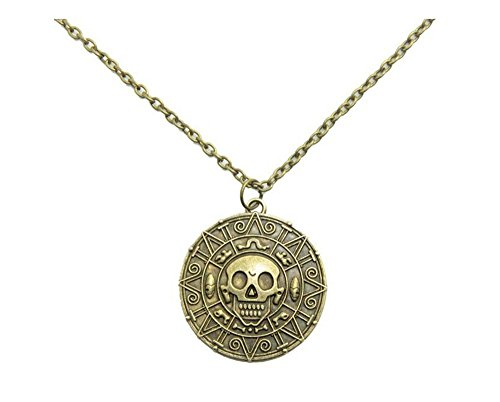 Danald Fashion Handcrafted Brushed Metal Caribbean Movies Cursed Aztec Coin Medallion Necklace Skull Pirate Coin Necklace Pendant (Antique Brass)