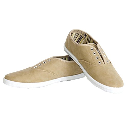 Twisted Women's Tennis Basic Faux Leather Athletic Slip-On Sneaker - TAN PU, Size 7
