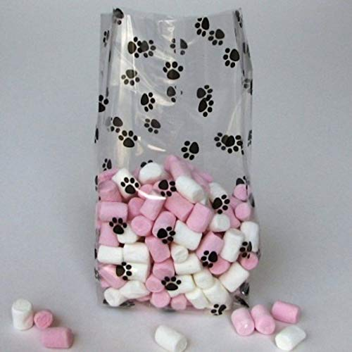 Paw Print Gusset Cello Bag - All-occasion Favor 3.5 Inch X 2 Inch X 7.5 Inch Set of 20 - Bags Cat Treat Black