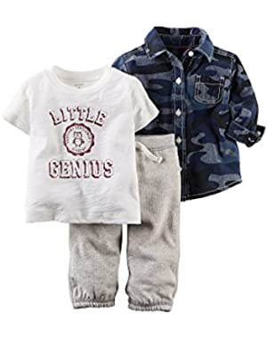 Carter's 3 Piece Camo Little Genius Button Shirt and Pants Set (3 Mos.)