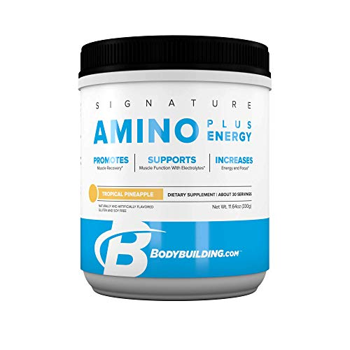 BodyBuilding.Com Signature Amino Plus Energy Powder | Essential Amino Acids and Caffeine | Nutrition Supplement | Promote Energy and Recovery | 30 Servings, Tropical Pineapple Review