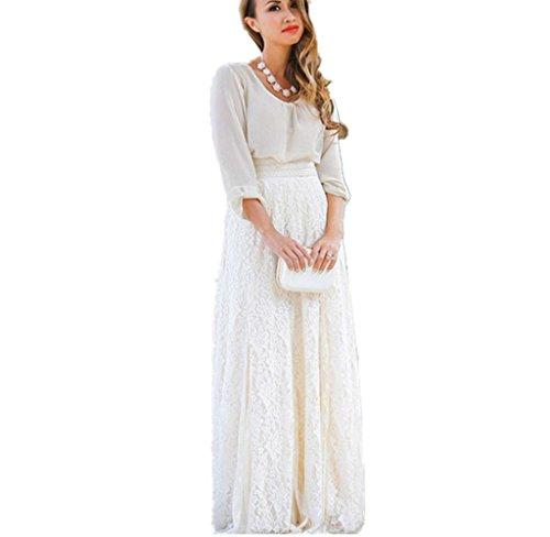 Lookatool Skirts, Women Lace Double Layer Pleated Long Maxi Elastic Waist Skirt ()