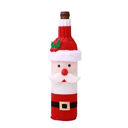 Wicemoon 1pcs Botella de Vino de Navidad decoración Botella de Santa Claus para decoración de Fiesta