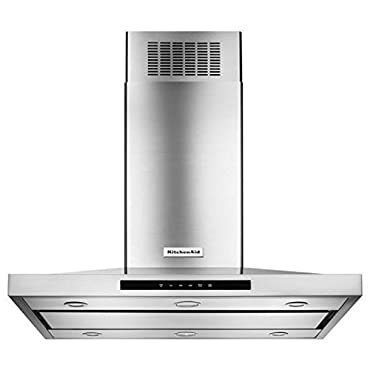 KITCHENAID KVIB606DSS 36 Island Chimney Range Hood with 600 CFM In-Line Blower, LED Task Lights, Halogen Night Lights, 3-Speed Electronic Touch Control, Auto Speed Setting and Dishwasher Safe Grease Filters