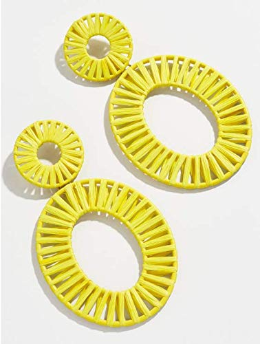 Enameljewelries Rainbow Rattan Drop Earrings Handmade Raffia Geometric Earrings Lightweight Colorful Straw Dangle Summer Earrings for Women (B6#Rattan Yellow)