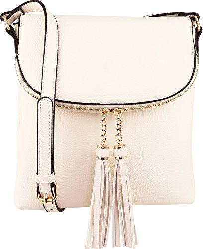 B BRENTANO Vegan Medium Flap-Over Crossbody Handbag with Tassel Accents (Off-White(N))