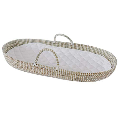 Baby Changing Basket Handmade Seagrass Basket - Fairtrade Soft Organic Cotton Waterproof Pad | Eco Friendly Alternative to Traditional Changing Pad | Best for Nursery Table and Storage