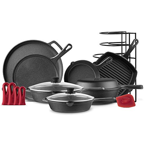 Cuisinel Cast Iron Cookware 11-Pc Set – 8″ Skillet + 10″+12″ Skillets with Glass Lid + Grill Pan + Multi-Cooker/Dutch Oven + Griddle + Pizza Pan + Panrack – Pre-seasoned Complete Kit – Indoor/Outdoor