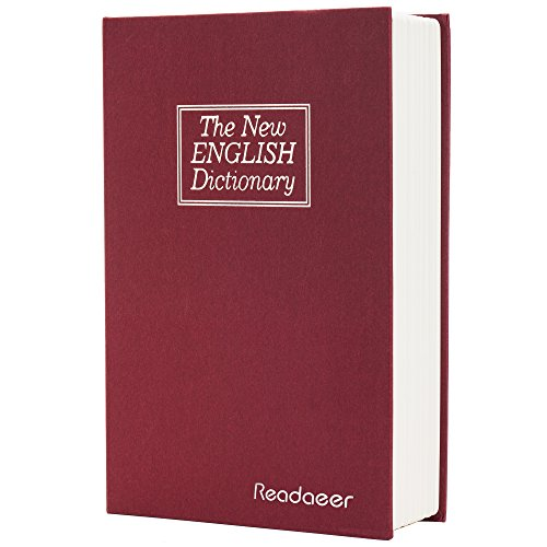 Readaeer® Dictionary Diversion Secret Book Safe Portable Travel Box with Key Lock Steel Large-Red