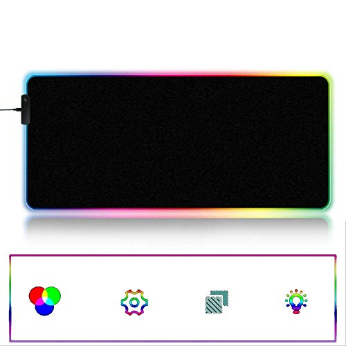 Whryspa Alfombrilla de ráton para Juegos RGB, Alfombrilla para ratón Grande, con iluminación LED, Base de Goma...
