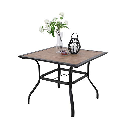 PHI VILLA 37″ x 37″ Outdoor Patio Wood-Like Square Dining Table with Metal Steel Frame and Umbrella Hole