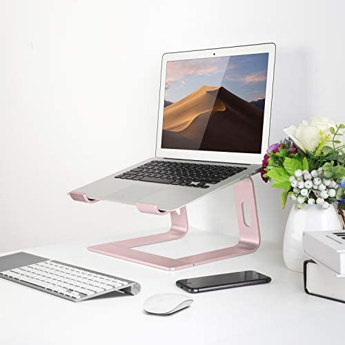 JARLINK Aluminum Laptop Stand, Ergonomic Detachable Laptop Holder Riser Compatible with MacBook Air Pro/Dell XPS/HP/Lenovo (as much as 15.6 inches), Pink