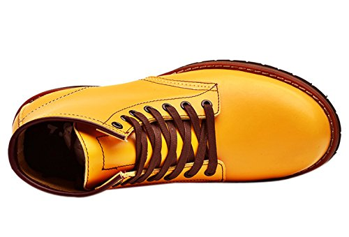 Insun Men's Cowhide Leather Laces Ankle Boots Yellow viCGa