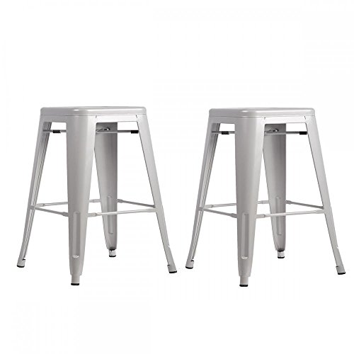 Metal Frame Tolix Style Bar Stool Industrial Chair Set