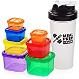 Meal Prep Haven FBA_MP-PC7PCombo-CA 7 Piece Multi-Colored Portion Control Container Kit with Guide and Protein Shaker Bottle