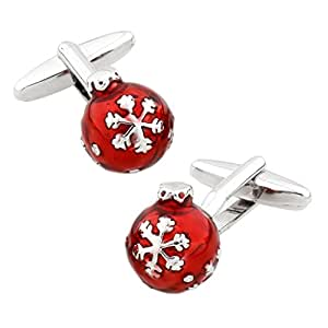 MRCUFF Christmas Ball Ornament Pair Cufflinks in a Presentation Gift Box & Polishing Cloth
